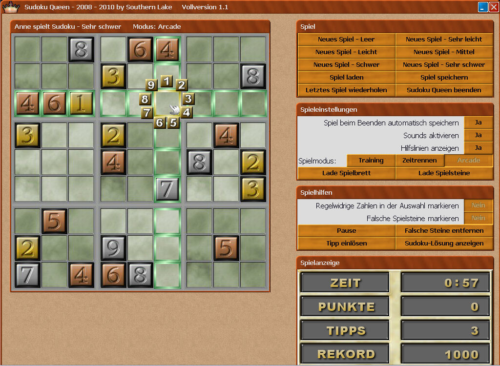 Screenshot vom Programm: Sudoku Queen